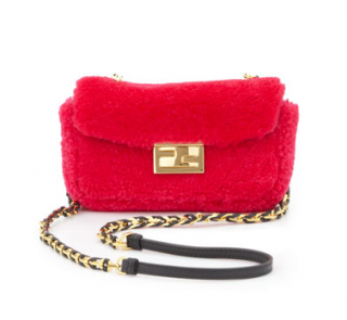 FENDI Shearling Mini Be Baguette Shoulder Bag