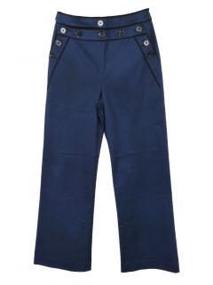Self-Portrait Button Trimmed Canvas Blue Trousers