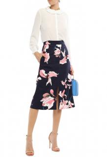 Erdem Floral-Print Canvas Navy Straight Skirt