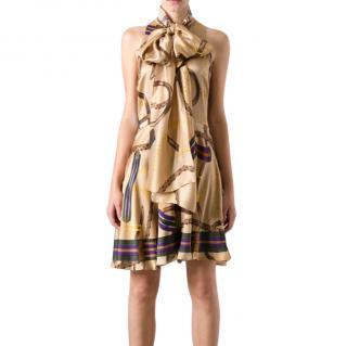 Ralph Lauren Harness Print Pussybow Sleeveless Dress