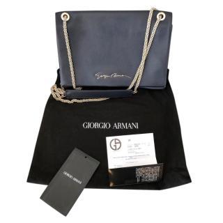Giorgio Armani Navy Leather Signature Flap Bag