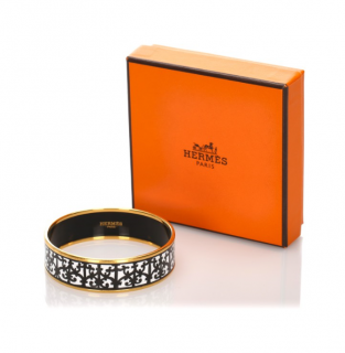 Hermes Enamel Printed Narrow Bangle