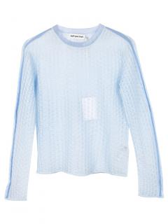 Self Portrait Blue Open Knit Sheer Sweater