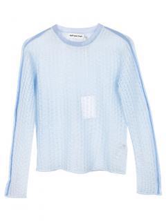 Self Portrait Blue Open Knit Sheer Sweater