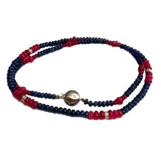 Bespoke 18ct Gold Ruby, Sapphire & Diamond Necklace