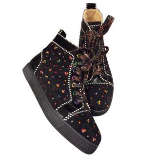 Christian Louboutin Black Multi-Coloured Crystal EMbellished High Tops