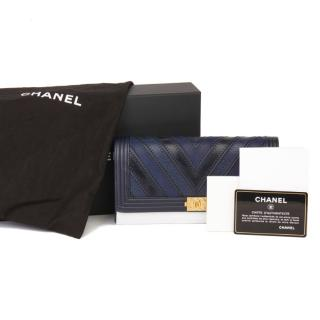 Chanel Two-Tone Chevron Boy Wallet On Chain