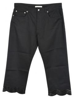 Christopher Kane Black Crop Hem Embroidered Jeans