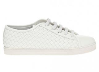 Bottega Veneta White Intrecciato Leather Trainers