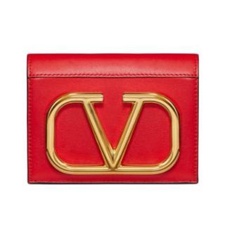 Valentino Garavani Red VLOGO calfskin wallet