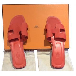 Hermes Orange Epsom Leather Oran Sandals