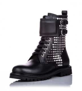 Salvatore Ferragamo Calfskin Gancini Lace-up Ankle Boot