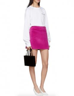 Helmut Lang Pink Re-edition Brushed Fuchsia Miniskirt