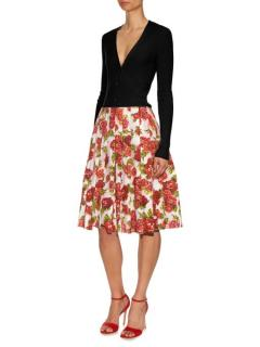 Emilia Wickstead Polly Floral Print A-Line White Skirt