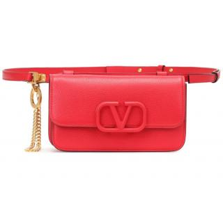 Valentino Garavani Red Leather VSLING Belt Bag