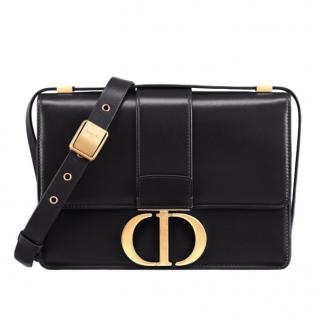Dior 30 Montaigne Smooth Black Calf Leather Shoulder Bag