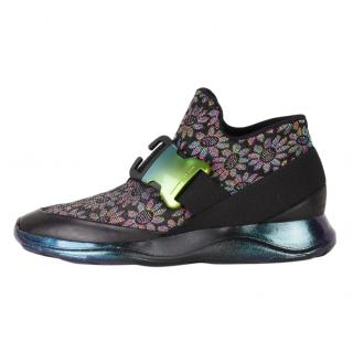 Christopher Kane Leather-trimmed Floral-jacquard Buckle Sneakers