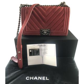Chanel Red Nubuck Suede Chevron Boy bag