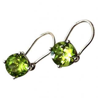 Bespoke Peridot solitaire drop earrings