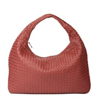 Bottega Veneta Red Intreciatto Leather Medium Hobo Bag