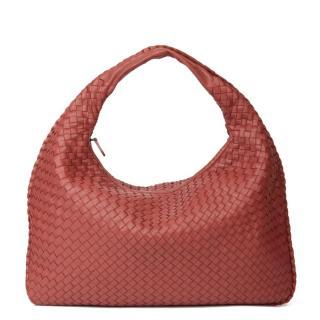 Bottega Veneta Red Intreciatto Leather Medium Hobo Bag