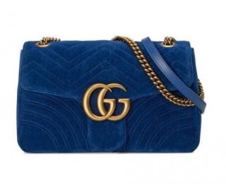 GUCCI GG Marmont blue velvet shoulder bag