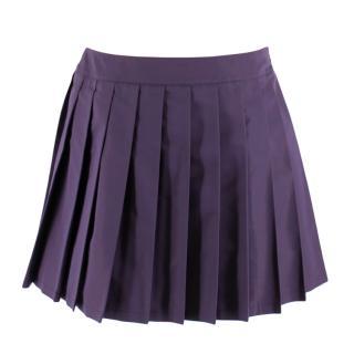 Miu Miu Dark Purple Silk Blend Pleated Skirt