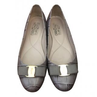 Ferragamo Lilacl Cfroc Embossed Ballerina Flats