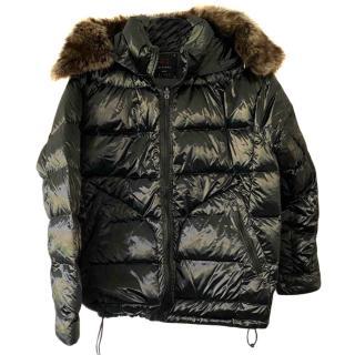 49 Winters Black Down Fur Trim Jacket