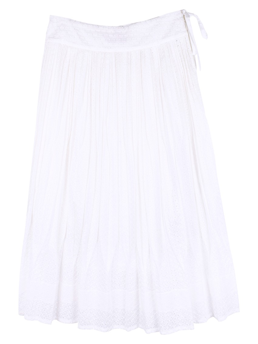Issey Miyake Haat Embroidered Pleated Skirt