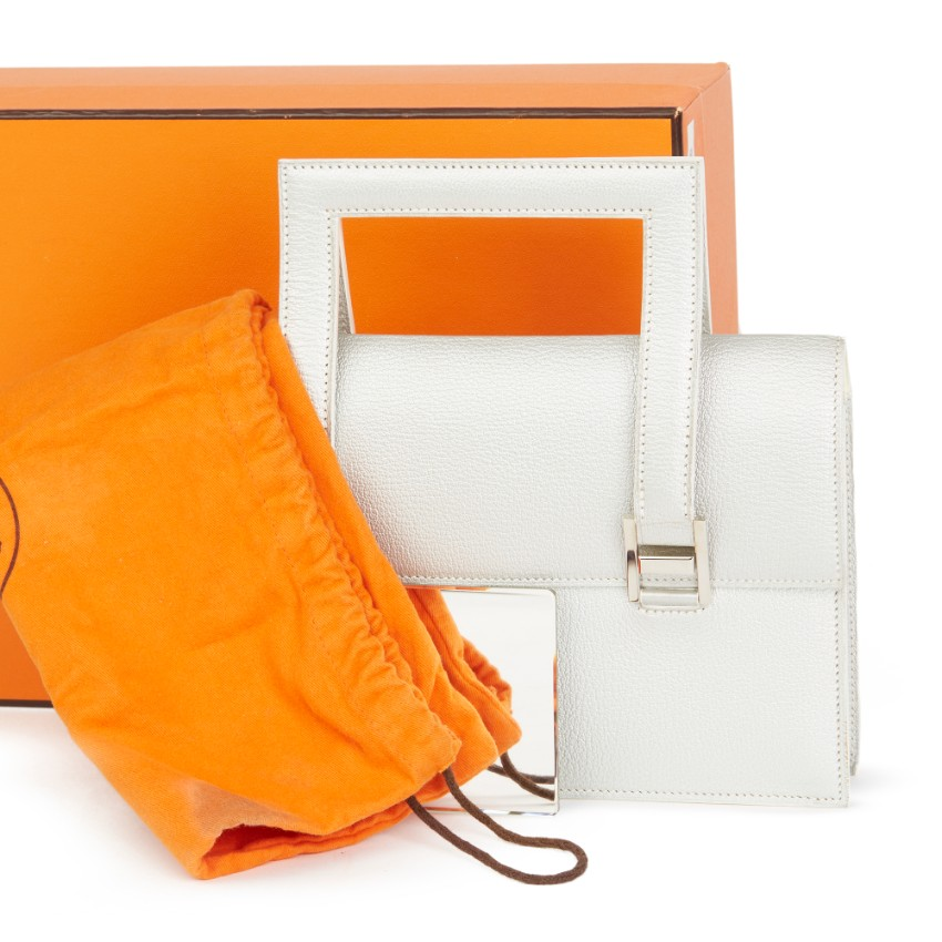 Hermes Chevre Silver 365 PM Top Handle Bag