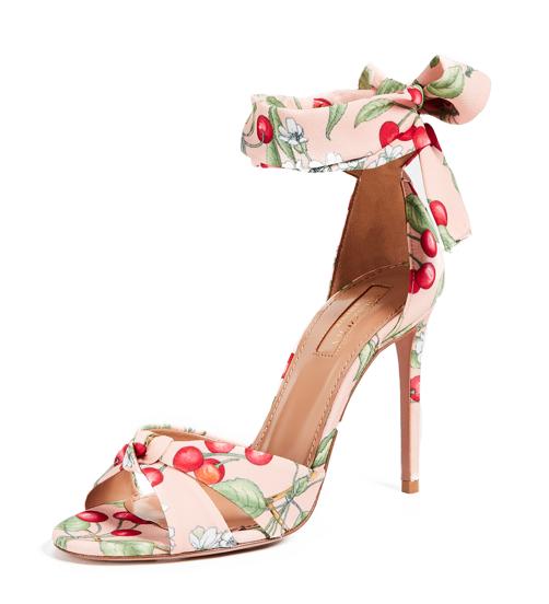 Aquazzura All Tied Up Cherry Blossom Print Sandals