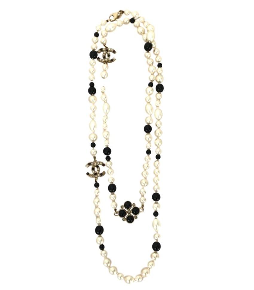 Chanel Black & White Faux Pearl Gripoix Double Strand Necklace