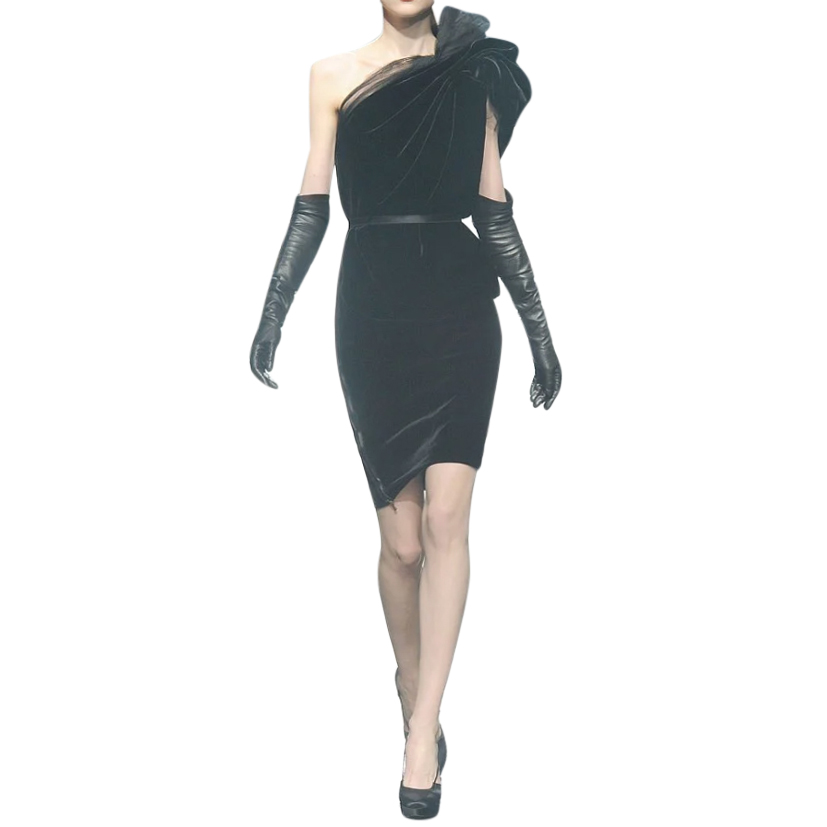 Lanvin Black Runway Velvet & Tulle One Shoulder Dress