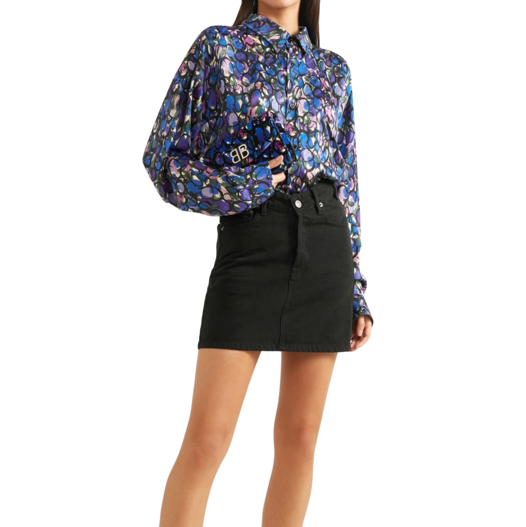 Balenciaga Denim Black Mini Skirt