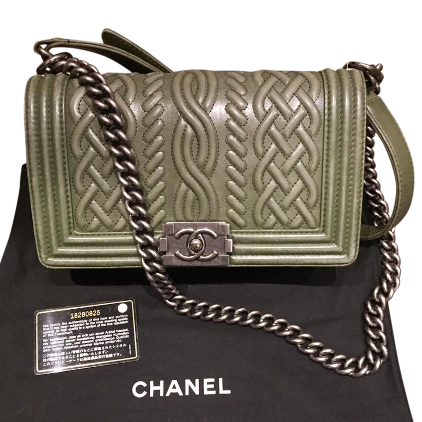 Chanel sage green leather boy bag with aged silver colour hardware