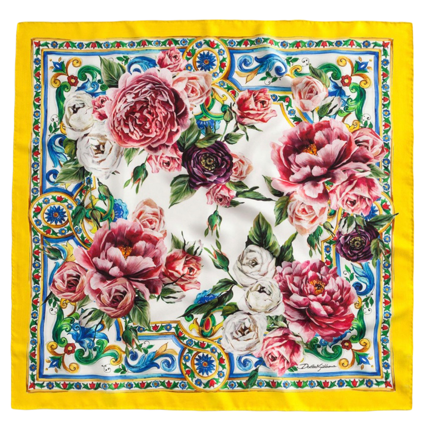 Dolce & Gabbana Yellow Sicily Print Silk Scarf