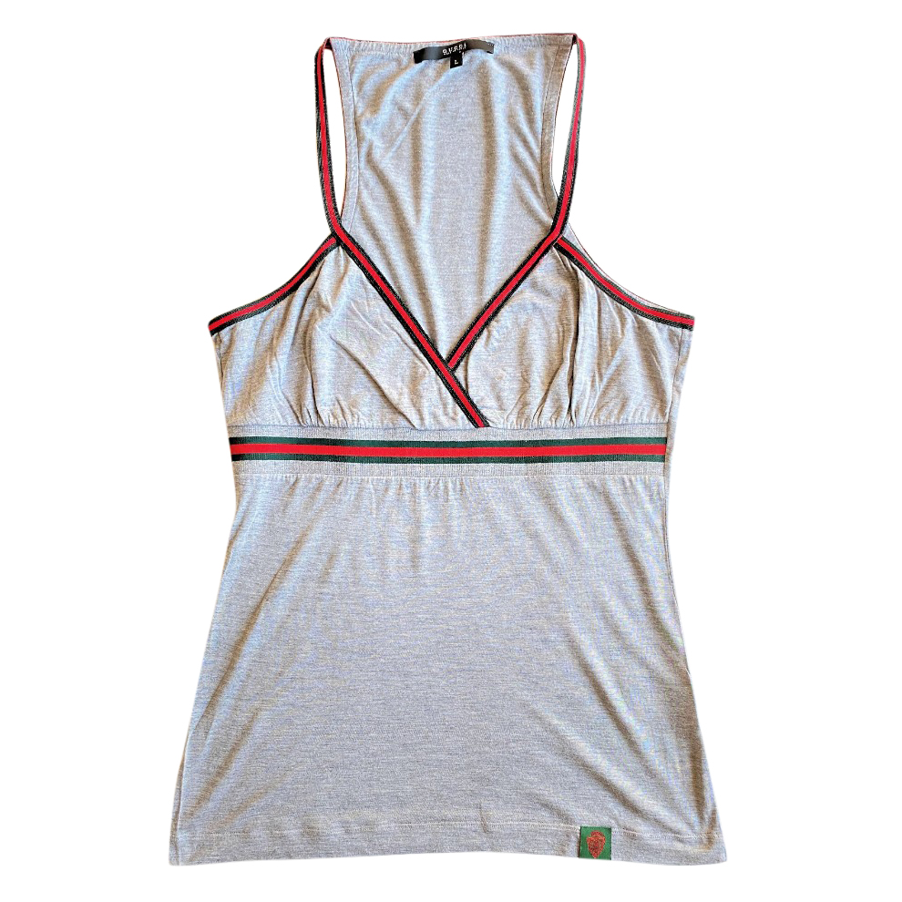 Gucci Grey Jersey Top with Web Trim
