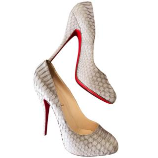 Christian Louboutin Grey Python Round Toe Pumps