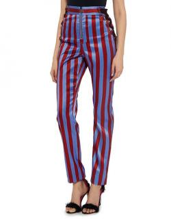 Self Portrait Candy Stripe Side Lace-up Satin High-rise Pants