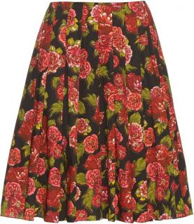 Emilia Wickstead Polly Black Floral Print Skirt