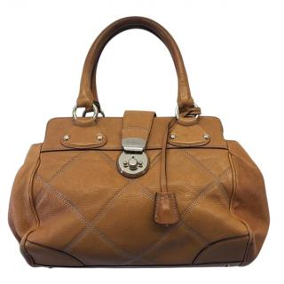Max Mara Brown Diamond Stitched Top Handle Bag