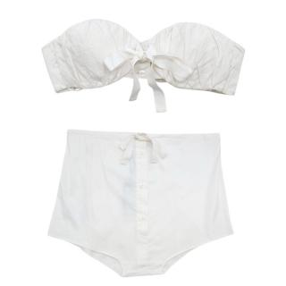 Prada White Button Down Bandeau Top & High Waist Panties