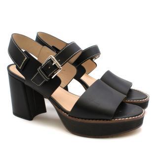 MaxMara Black Block Heeled Sandals