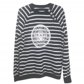 Balmain Black & White Striped Sweatshirt