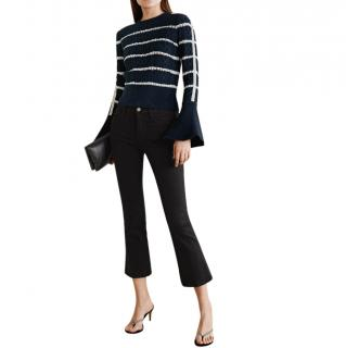 Self Portrait Embellished striped cable-knit sweater