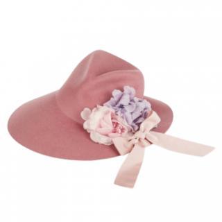 Gucci Rose Pink Felt Embellished Fedora