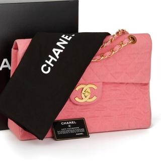Chanel Pink Denim Maxi Flap Bag