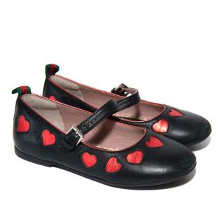 Gucci Kids Black Leather Pumps with Red Hearts
