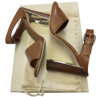 Stella McCartney Tan Leather Wooden Heel Sandals